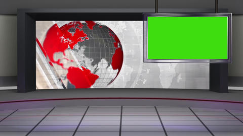 HD News-39 TV Virtual Studio Green Screen Background Red White with Globe Animation