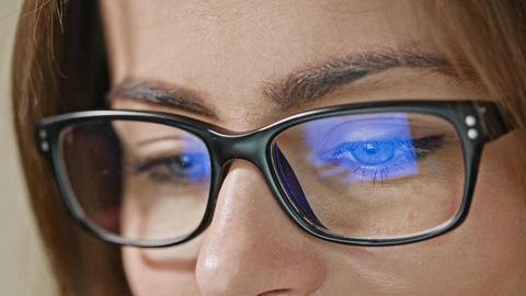 Woman Eyes with Glasses Footage