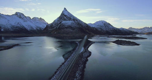 Beautiful landscape view with big mountains car on road Footage