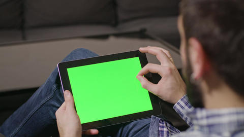 Green Screen Digital Tablet PC Man Footage
