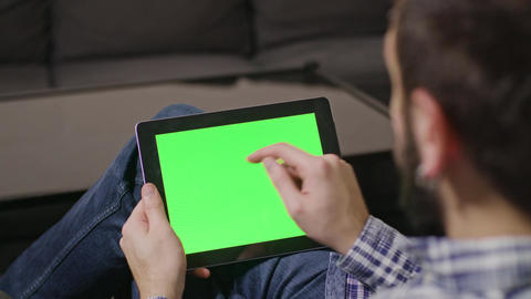 Green Screen Digital Tablet PC Man Footage