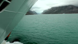Greenland Prince Christian Sound 013 ship bow in turquoise colored ice water Footage