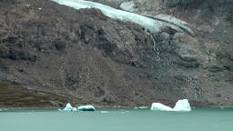 Greenland Prince Christian Sound 014 glacier, melt water and small icebergs Footage