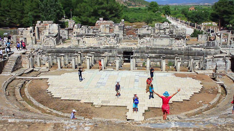 Theater Stage of Ephesus Ancient City Filmmaterial