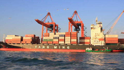 Container ship Inception full of load at port