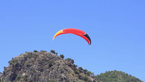 Oludeniz Beach at Fethiye in Turkey. Gracefully landing at Oludeniz Beach Footage