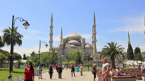 Blue Mosque. High definition, zoom out Footage