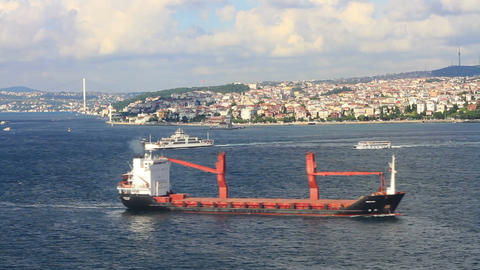 Cargo ship sails in to Marmara Sea. Timelapse Footage