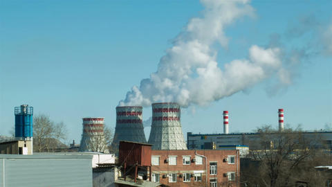 Factories and ecology. Air pollution ビデオ