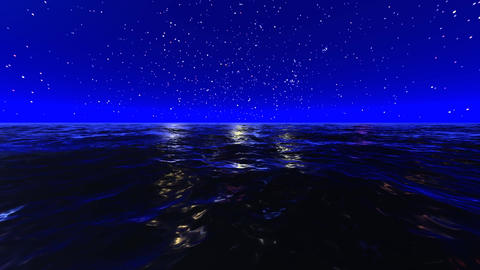 Night Ocean And Stars Animation