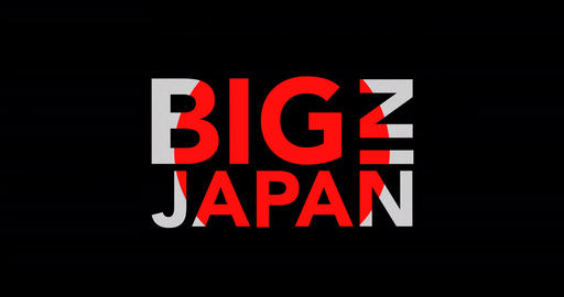 Exclusive Big in Japan kinetic text motion with flag Footage