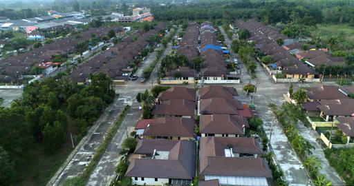 Suburban neighborhood. Many cottages in village. Aerial. Khao Lak. Thailand Footage