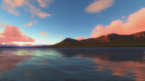 Sunset At Lake And Red Sunlight on Cliffs Animation