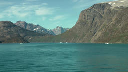 Greenland Prince Christian Sound 084 slow vessel movement along landscape Footage