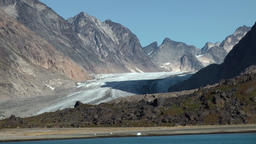 Greenland Prince Christian Sound 087 valley in imposing mountain landscape Footage