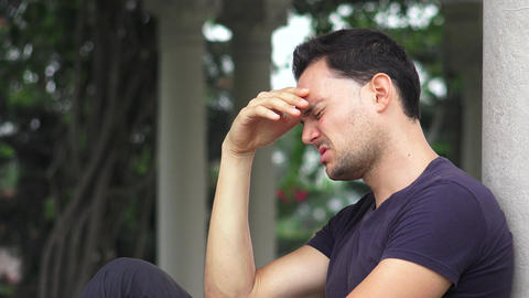 Man With Sadness Crying Anger And Stress Footage