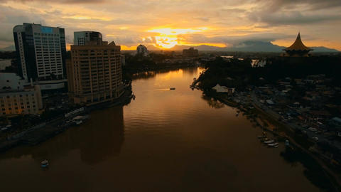 Sarawak River dyed in sunset, Dolly in wide shot Footage