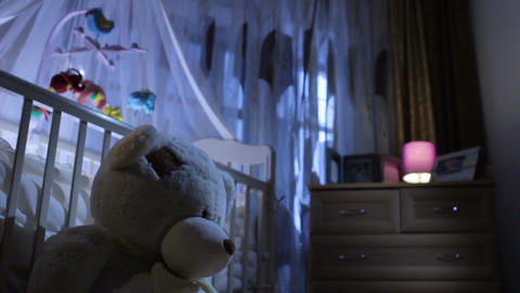 Closeup Teddy Bear and Baby Girl in Nice Dress at Children Room Footage