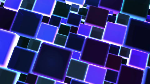Neon Blue Lights Cubes Background In 4k Animation