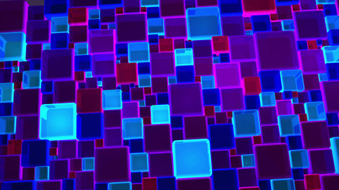 Neon Blue And Violet Lights Cubes Background In 4k Animation
