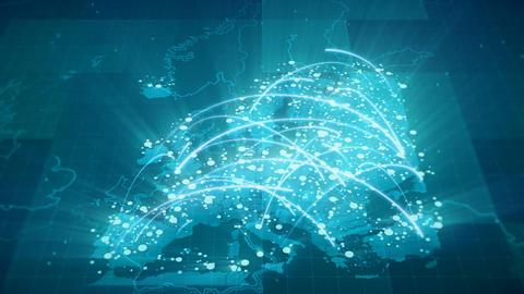 Globalization Europe Map Animation 4K Animation