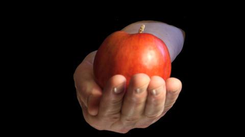 Original sin interpretation with apple in hand on black background Live Action