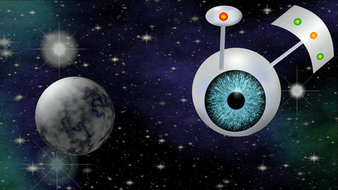 Sci-fi video with UFO. Fantasy space ship with blue eye flying trough cosmos. 3d Animation