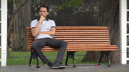 Man Sitting Alone In Park Footage