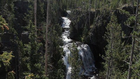Kepler Cascades, Yellowstone National Park, United States Footage