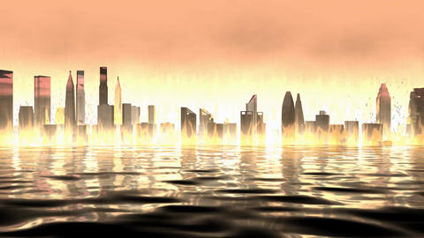 Artist rendering, burning city view background Animation