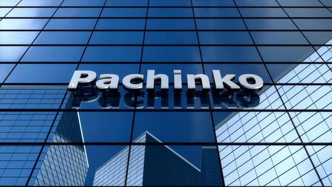 Pachinko Japan gambling parlor, amusement building, cloud time lapse Animation
