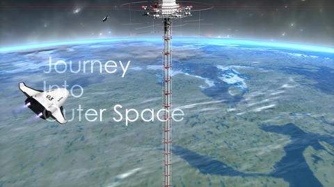 Space elevator with text overlay Animation