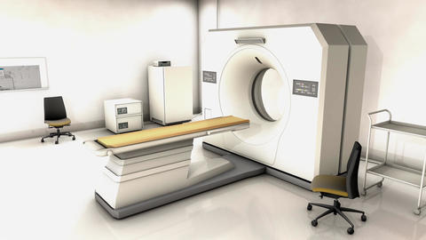 Specialist hospital CT scan device room Animation