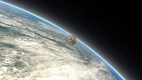 Space capsule descending to a planet Animation