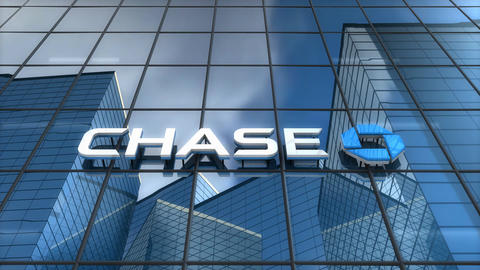 Editorial, Chase bank logo on glass building Animation