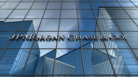Editorial, JPMorgan logo on glass building Animation