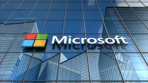 Editorial, Microsoft logo on glass building Animation