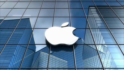 Editorial, Apple Inc. logo on glass building Animation