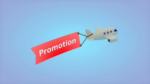 Airplane on blue background with text on flag, Promotion Animation