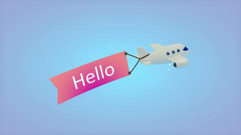 Airplane on blue background with text on flag, Hello Animation