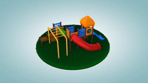 Children playground on cut out grass Animation