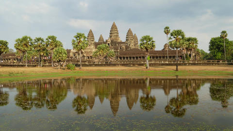 Angkor Wat temple in Cambodia, timelapse Footage