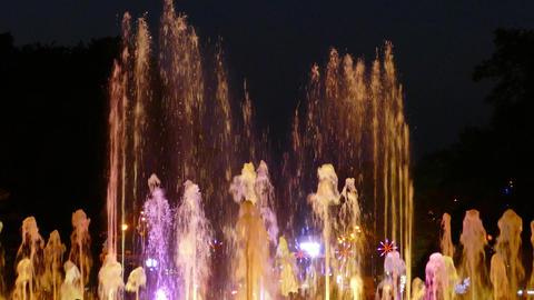 Fountain with changing colorful lighting Footage