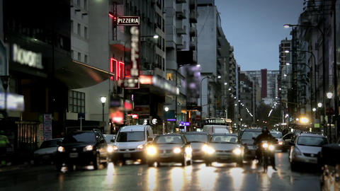 Corrientes Avenue In Buenos Aires Footage