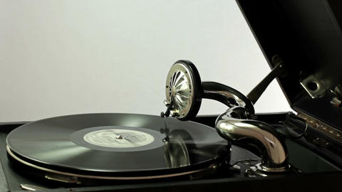 Listening To Old Records On The Gramophone Footage