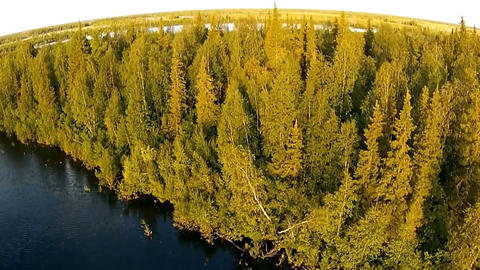 Aerial view of the Siberian river Footage