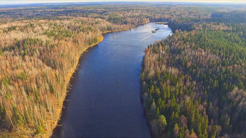 Aerial footage flight over the river Footage