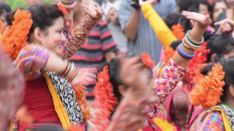 Young girls dancing at Holi / spring festival Footage
