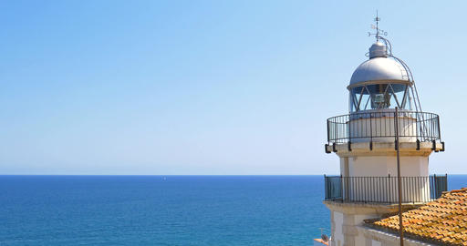 Lighthouse With Mediterranean Sea As Background Footage