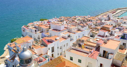 Aerial Panoramic View Of Peniscola City In Spain Live Action